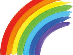 水彩涂鸦风格彩虹矢量素材