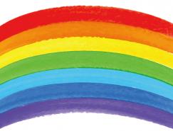 水彩塗鴉風格彩虹矢量素材(2)