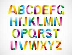 彩虹折疊字母矢量素材