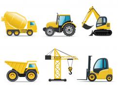 6種工程機械車輛矢量素材