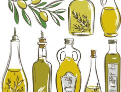 手繪橄欖和橄欖油矢量素材