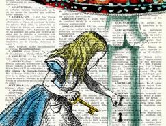 爱丽丝梦游仙境:旧字典上的童话故事插画
