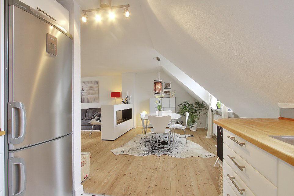 瑞典3居室白色装修顶层公寓
