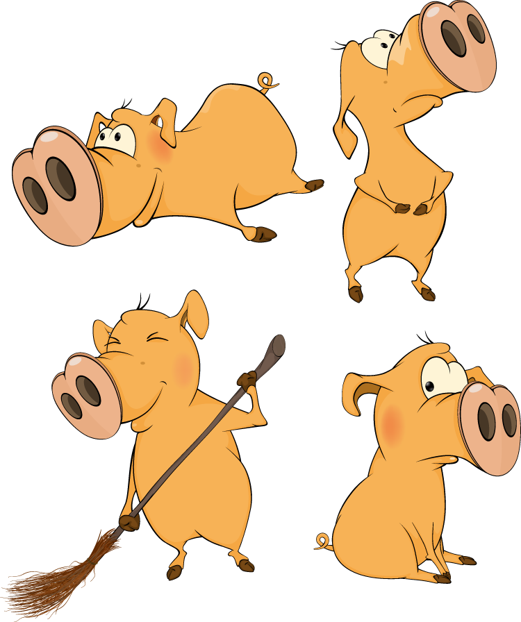 可爱有趣的卡通小猪矢量素材