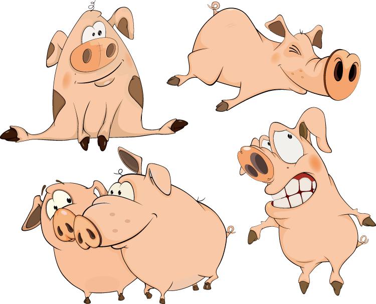 可爱有趣的卡通小猪矢量素材(2)
