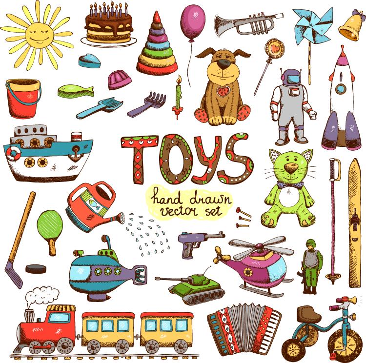 手绘儿童玩具矢量素材(2)