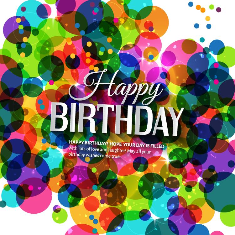 生日快乐缤纷色彩背景矢量素材