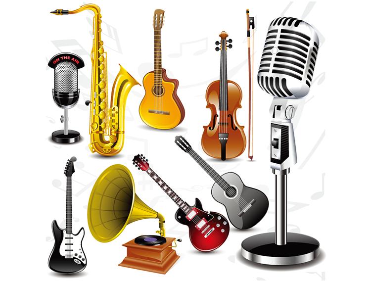乐器和话筒矢量素材