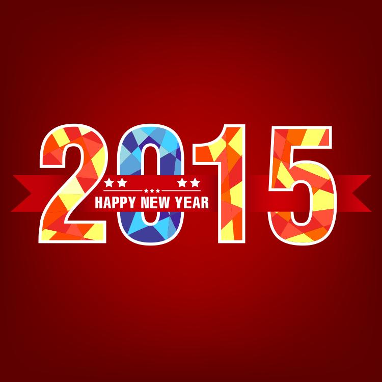 多边形背景的2015艺术字设计矢量素材