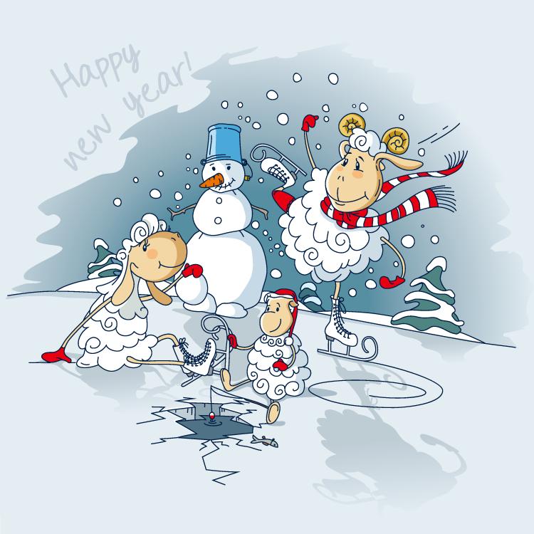可爱卡通绵羊和雪人矢量素材