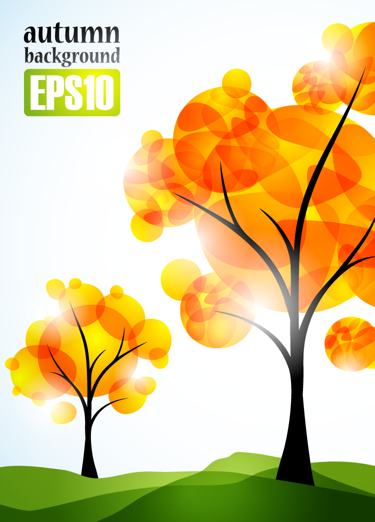 EPS格式,树木,植物,秋季,树,背景,绿地,矢量图