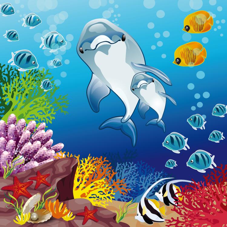 卡通海洋海底世界矢量素材