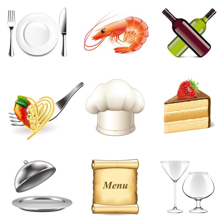 餐具与西餐食物图标矢量素材