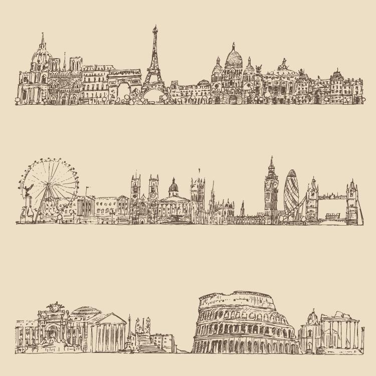 手绘线描著名城市街景矢量素材图片