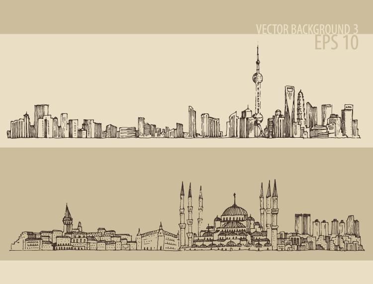 手绘线描著名城市街景矢量素材 二图片