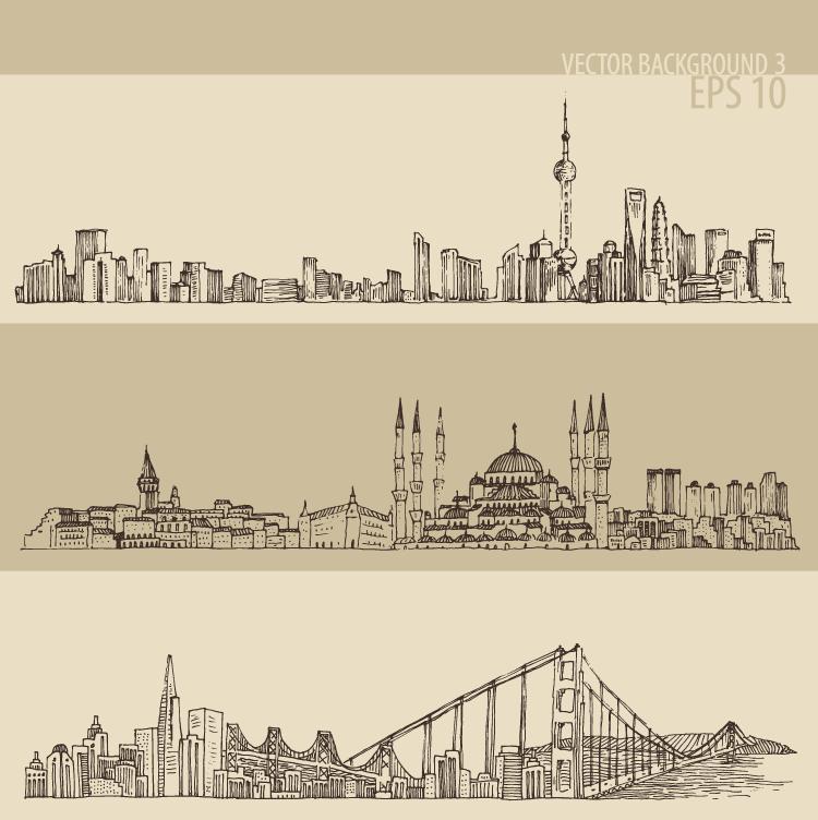 手绘线描著名城市街景矢量素材(二)