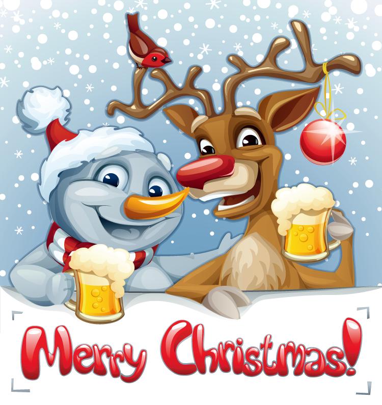 圣诞卡通雪人与驯鹿矢量素材