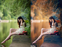 Photoshop給水邊的美女圖片加上暗調金秋色