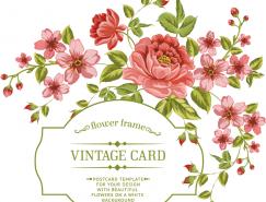 複古風格玫瑰花卡片矢量素材