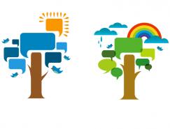 彩色樹木語言對話氣泡矢量素材