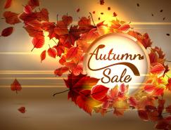 秋季促銷海報背景矢量素材