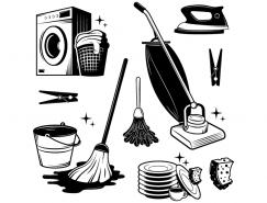 各种清洁工具剪影矢量素材