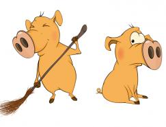 可愛有趣的卡通小豬矢量素材