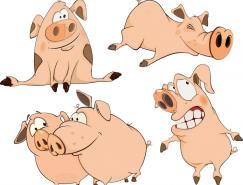 可愛有趣的卡通小豬矢量素材(2)