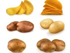 馬鈴薯和薯片矢量素材