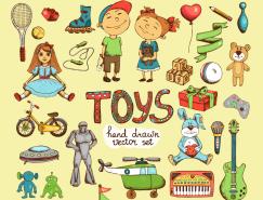 手繪兒童玩具矢量素材