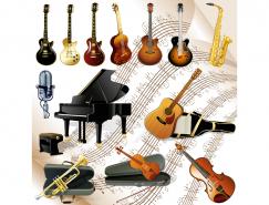 乐谱背景的13款西洋乐器矢量素材