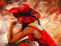 火热的红色:Emerico Imre Toth时尚女郎绘画作品