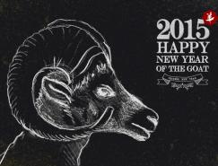 2015年粉筆畫山羊背景矢量素材(2)