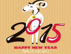 2015年卡通山羊背景矢量素材
