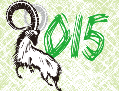 2015手繪風格山羊背景新年矢量素材