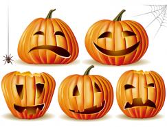 5個幽默卡通南瓜燈表情圖標矢量素材