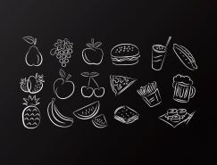 各种水果食品图标矢量素材