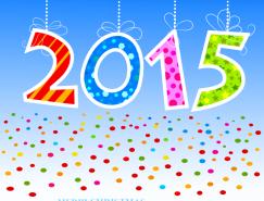 可爱2015艺术字设计矢量素材