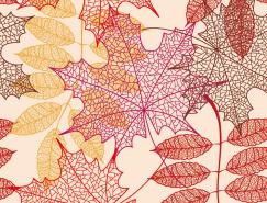 美丽的秋叶无缝背景矢量素材(3)