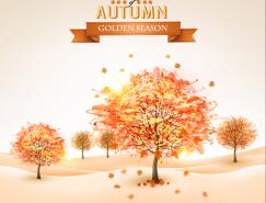 手绘风格秋天的树矢量素材