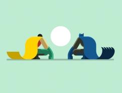 扁平化的超级英雄插画设计