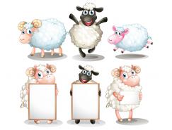 可愛卡通綿羊矢量素材