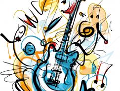 手绘涂鸦风格电吉他矢量素材