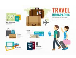 旅游主题元素信息图表矢量素材