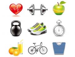运动与健身器材图标矢量素材