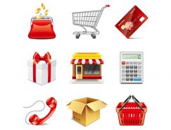 9个购物主题图标矢量素材
