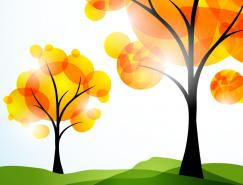 秋季树木抽象艺术背景矢量素材