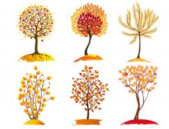 9款手绘风格秋季树木矢量素材