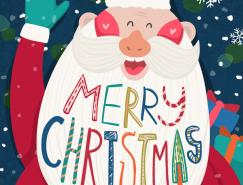 可愛的卡通聖誕老人矢量素材