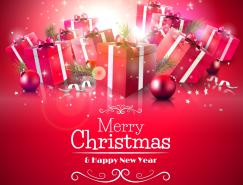 红色圣诞礼盒背景矢量素材